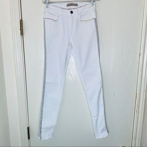 Zara Basic Z1975 White Skinny Jeans w/Gray Stripe